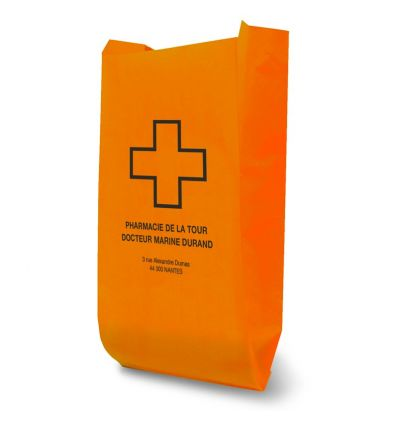 Sac Papier Kraft Pharmacie 25x14x39 cm Orange