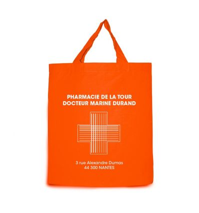 Sac Coton Orange Pharmacie 38x42 cm