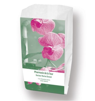 Sac Papier Recyclable 20x11x34 cm ORCHIDEE